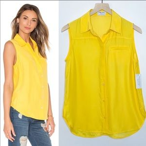 FRAME Denim Le Sleeveless Button Up Canary Yellow